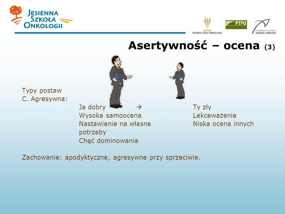 Asertywność – ocena (3) Typy postaw C. Agresywna: Ja dobry  Ty zły