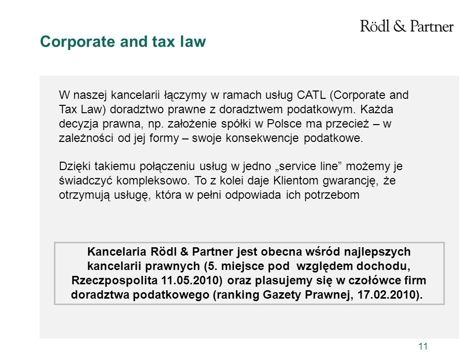 Corporate and tax law