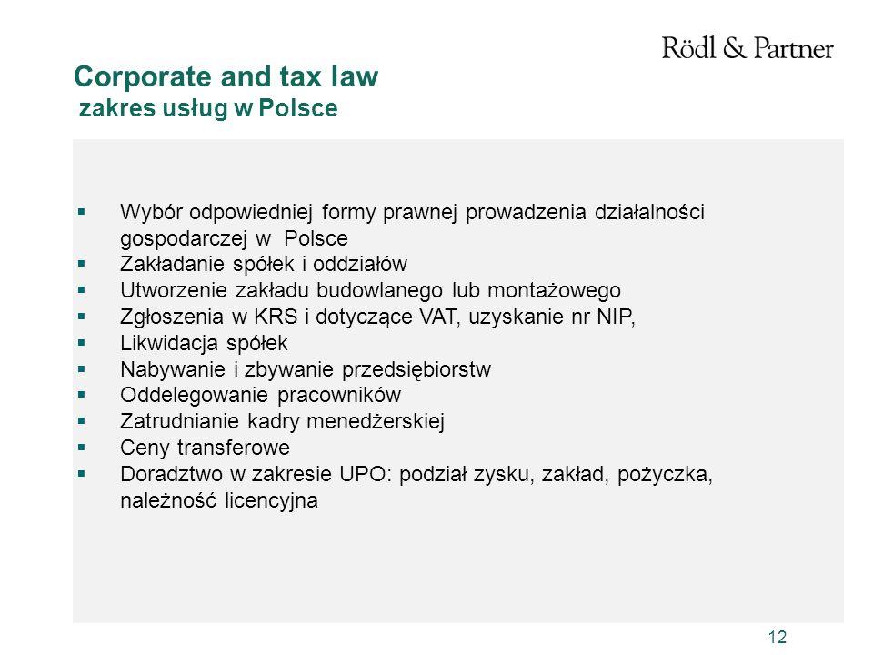Corporate and tax law zakres usług w Polsce