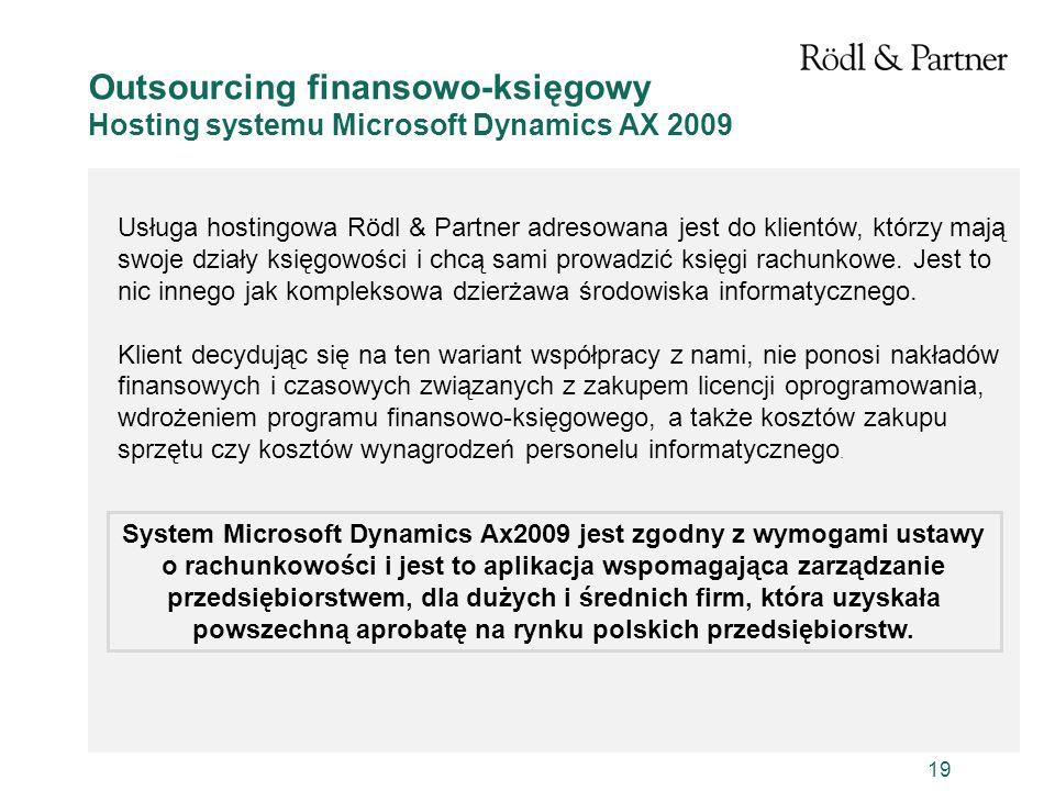 Outsourcing finansowo-księgowy Hosting systemu Microsoft Dynamics AX 2009