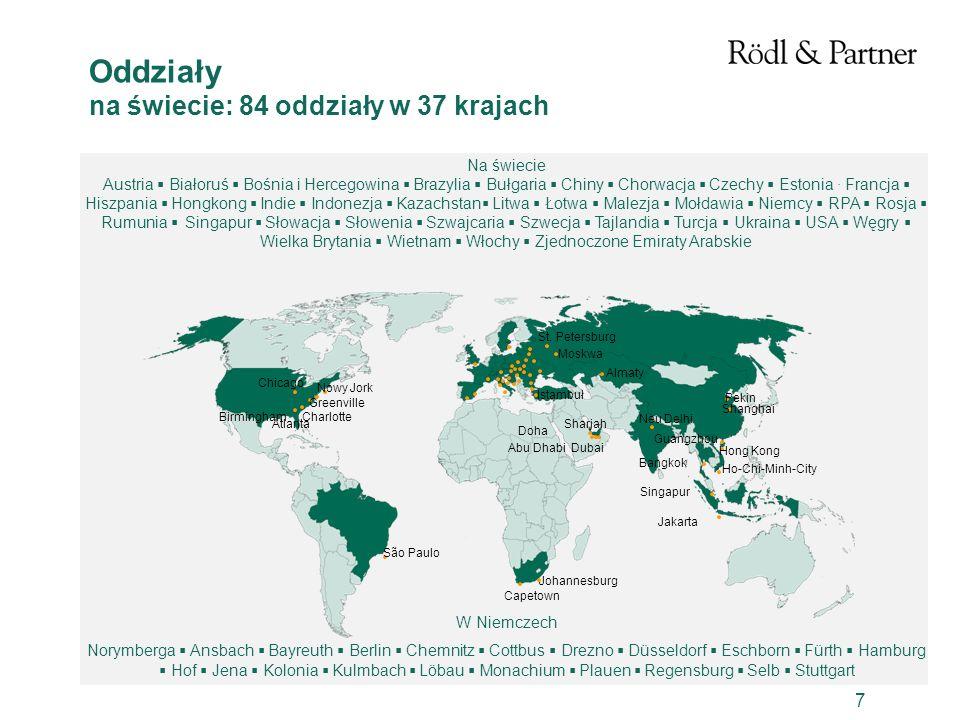 Oddziały na świecie: 84 oddziały w 37 krajach