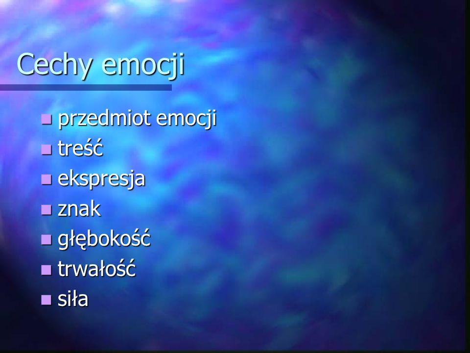 Cechy emocji przedmiot emocji treść ekspresja znak głębokość trwałość