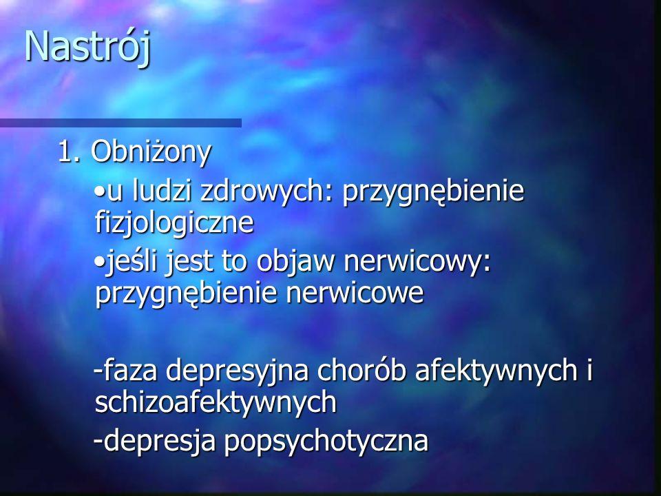Nastrój 1. Obniżony •u ludzi zdrowych: przygnębienie fizjologiczne