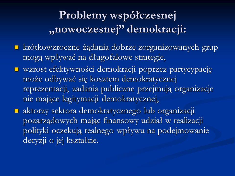 """Problemy współczesnej """"nowoczesnej demokracji:"""