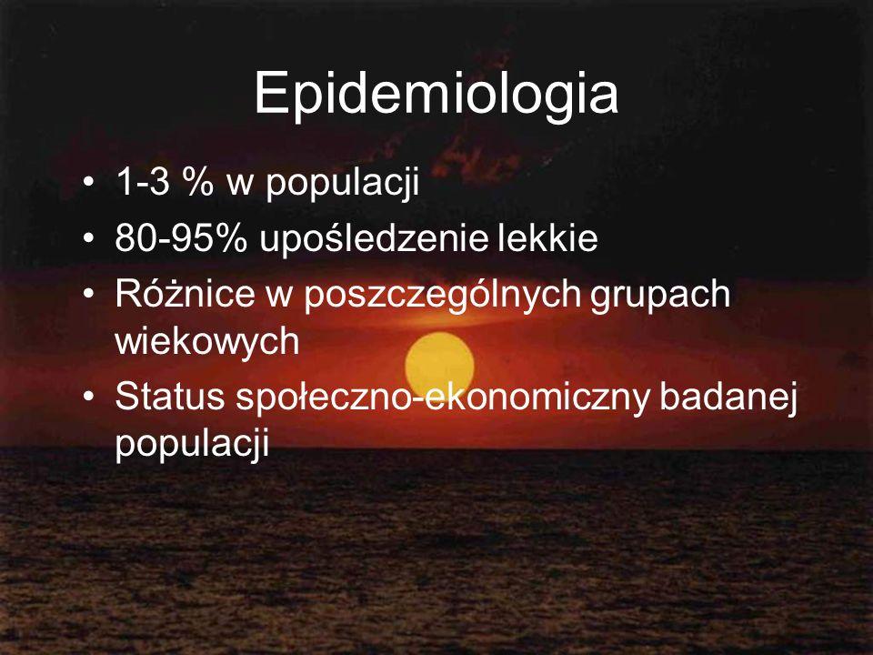 Epidemiologia 1-3 % w populacji 80-95% upośledzenie lekkie
