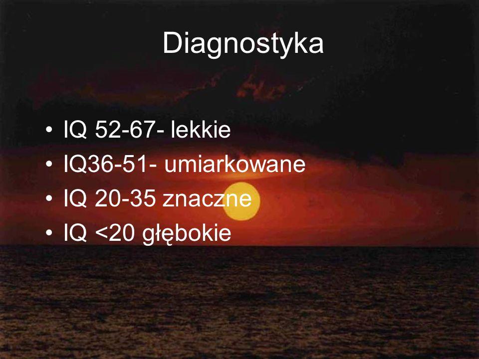 Diagnostyka IQ 52-67- lekkie IQ36-51- umiarkowane IQ 20-35 znaczne