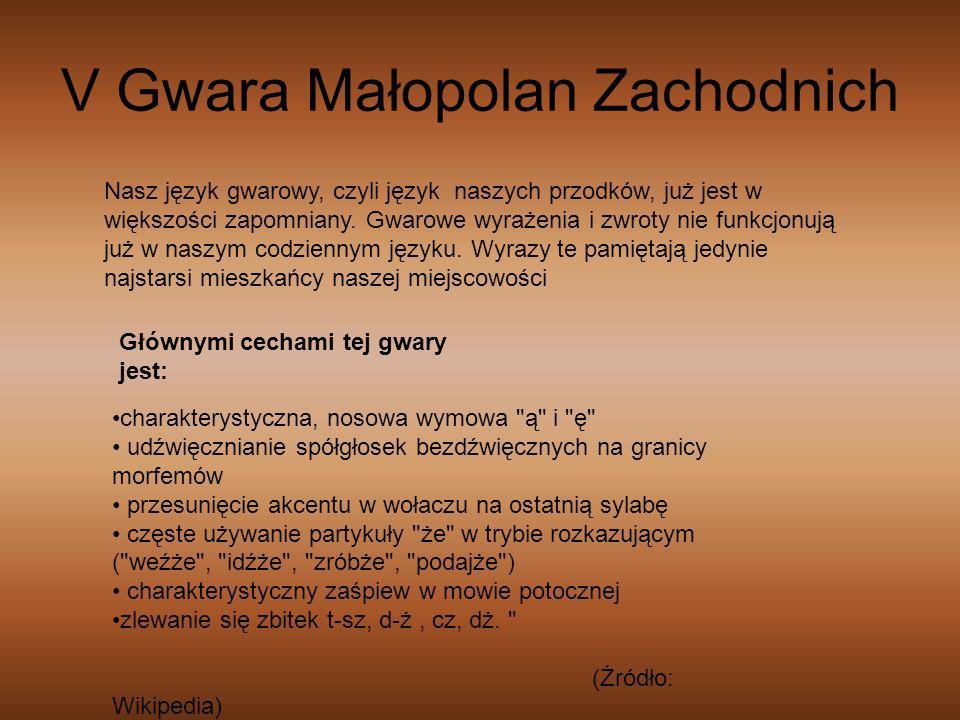 V Gwara Małopolan Zachodnich