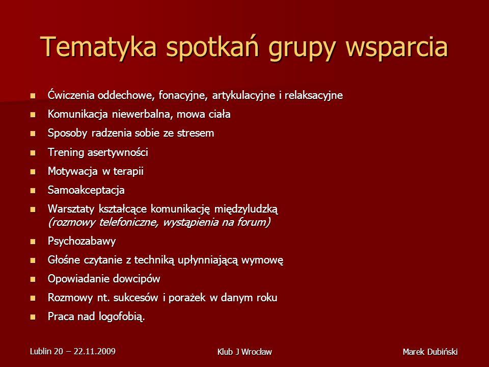 Tematyka spotkań grupy wsparcia