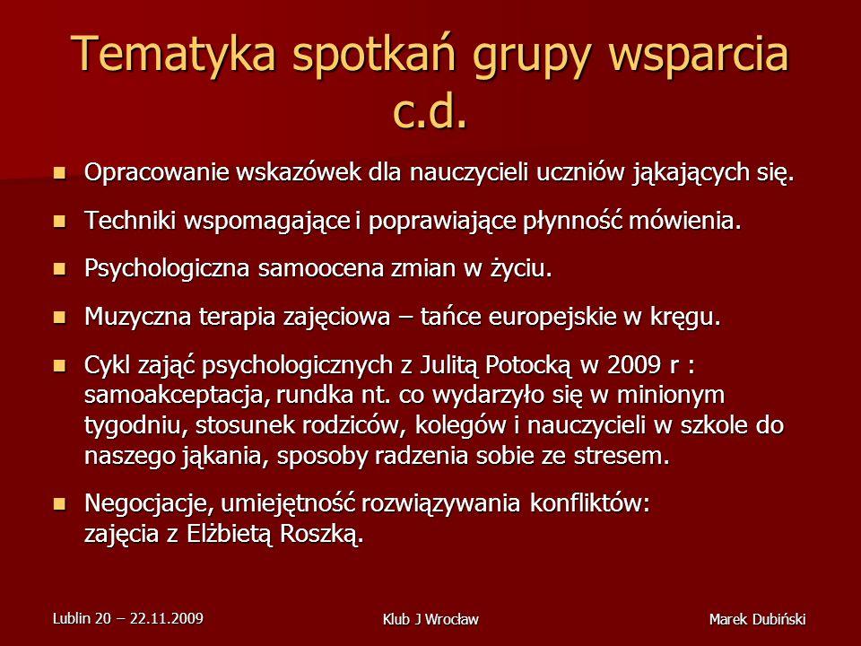 Tematyka spotkań grupy wsparcia c.d.