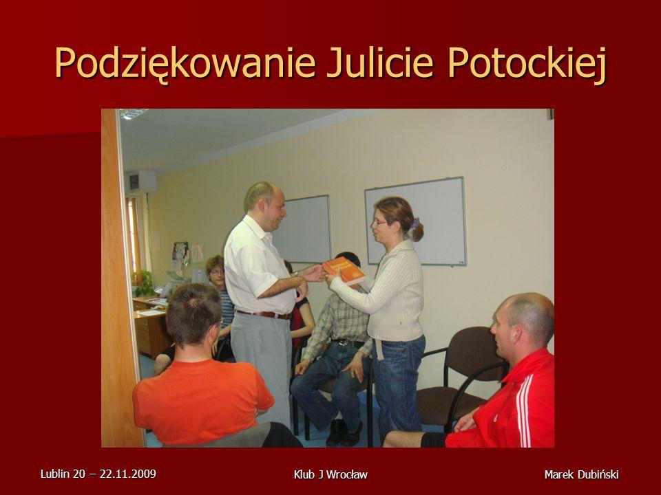Podziękowanie Julicie Potockiej