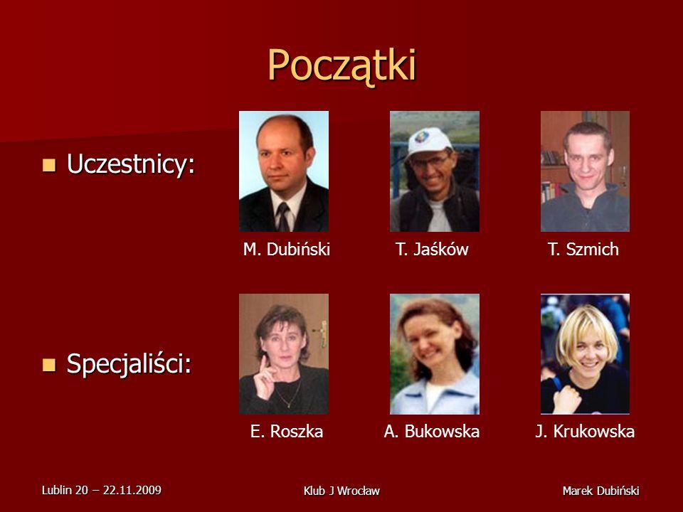 Początki Uczestnicy: Specjaliści: M. Dubiński T. Jaśków T. Szmich