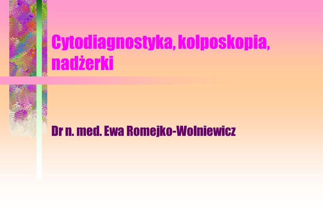 Cytodiagnostyka, kolposkopia, nadżerki