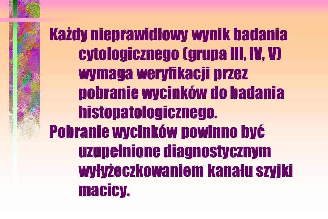 Każdy nieprawidłowy wynik badania. cytologicznego (grupa III, IV, V)
