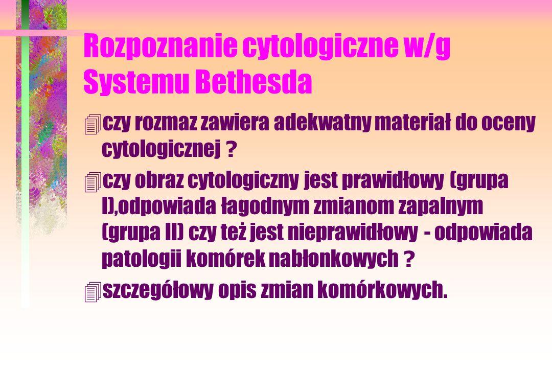 Rozpoznanie cytologiczne w/g Systemu Bethesda