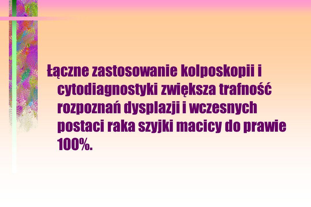 Łączne zastosowanie kolposkopii i cytodiagnostyki zwiększa trafność rozpoznań dysplazji i wczesnych postaci raka szyjki macicy do prawie 100%.