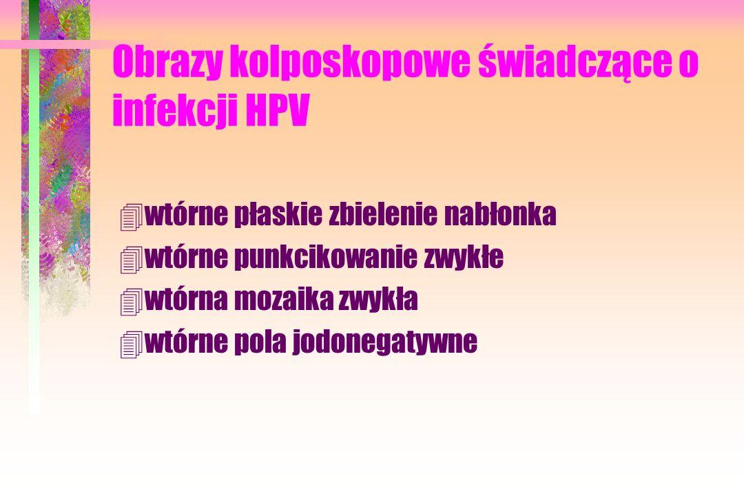 Obrazy kolposkopowe świadczące o infekcji HPV