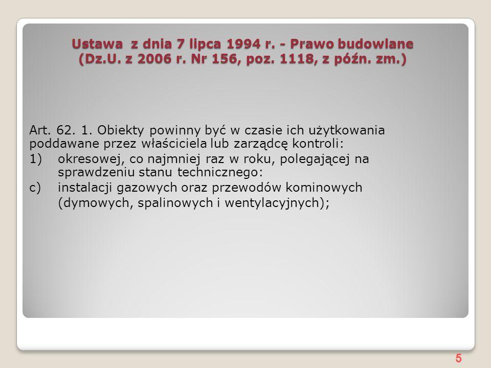 Ustawa z dnia 7 lipca 1994 r. - Prawo budowlane (Dz. U. z 2006 r