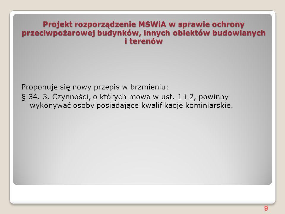 Projekt rozporządzenie MSWiA w sprawie ochrony przeciwpożarowej budynków, innych obiektów budowlanych i terenów