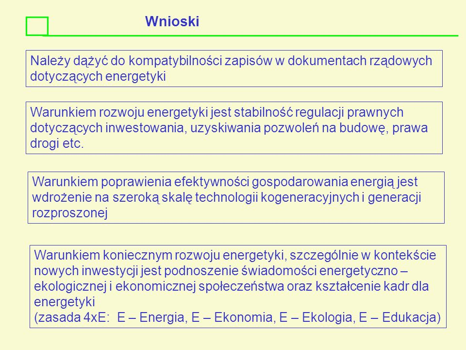 WnioskiNależy dążyć do kompatybilności zapisów w dokumentach rządowych dotyczących energetyki.