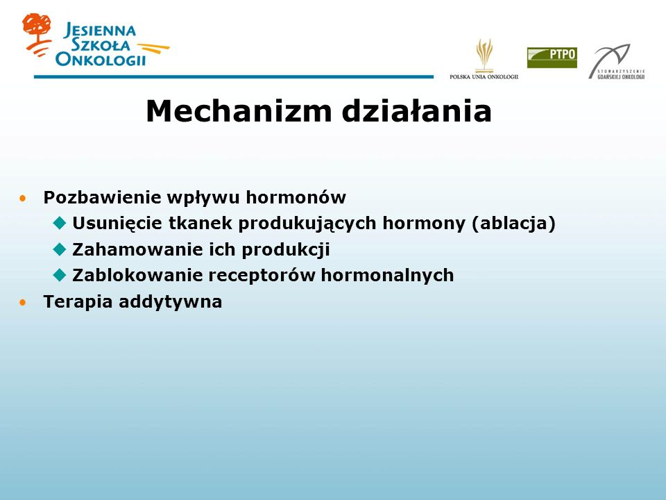 Mechanizm działania Pozbawienie wpływu hormonów