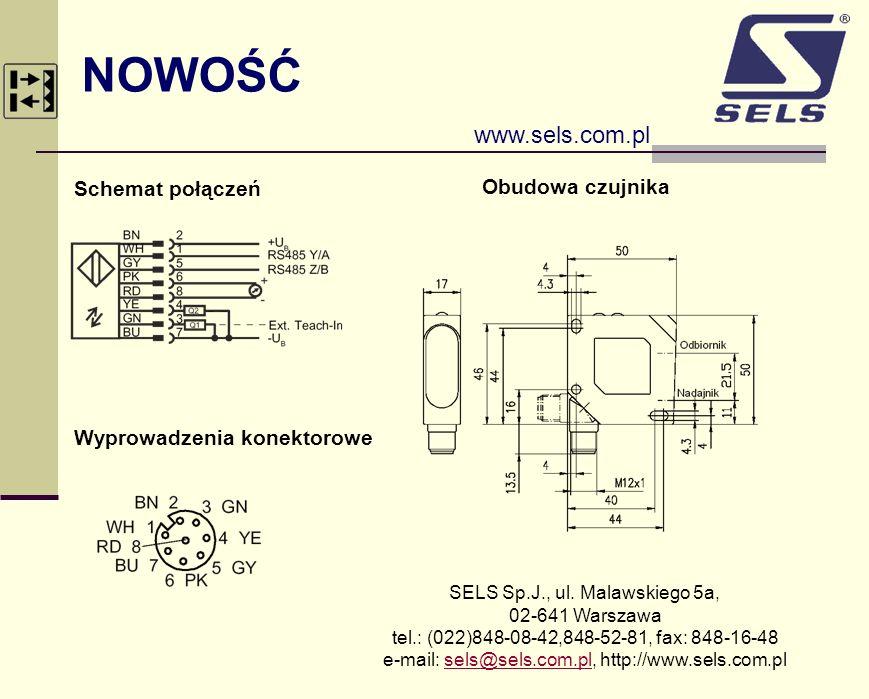 NOWOŚĆ www.sels.com.pl Schemat połączeń Obudowa czujnika