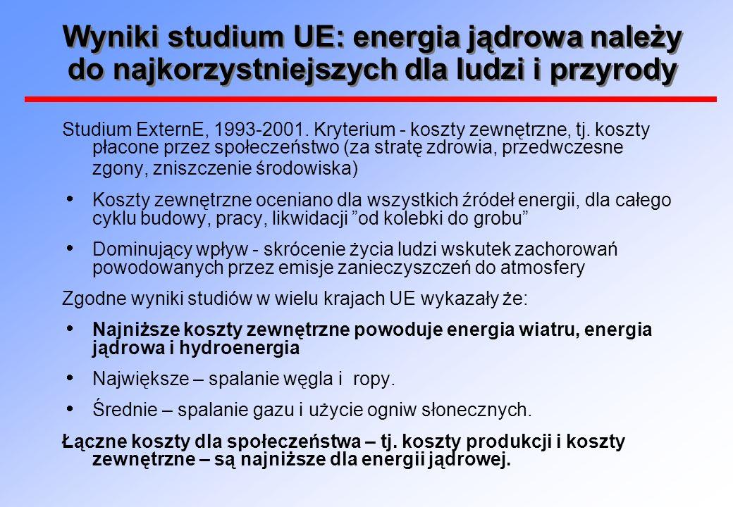 Wyniki studium UE: energia jądrowa należy do najkorzystniejszych dla ludzi i przyrody