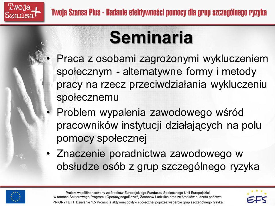 Seminaria Praca z osobami zagrożonymi wykluczeniem społecznym - alternatywne formy i metody pracy na rzecz przeciwdziałania wykluczeniu społecznemu.