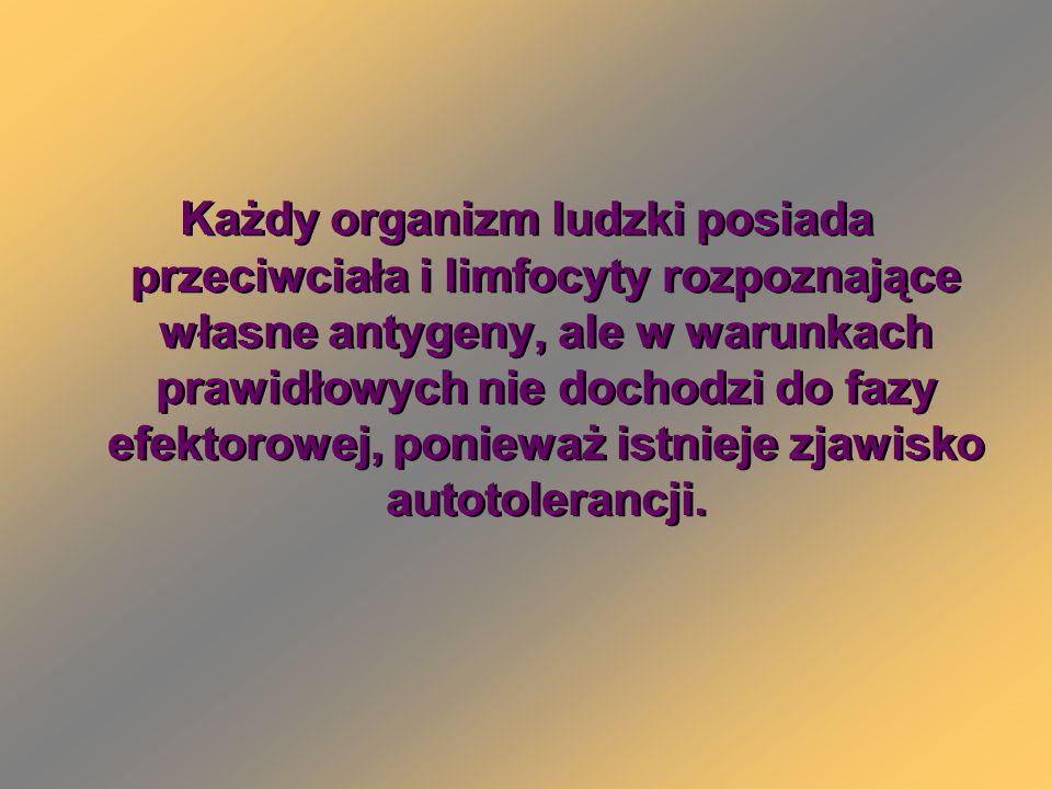 Każdy organizm ludzki posiada przeciwciała i limfocyty rozpoznające własne antygeny, ale w warunkach prawidłowych nie dochodzi do fazy efektorowej, ponieważ istnieje zjawisko autotolerancji.