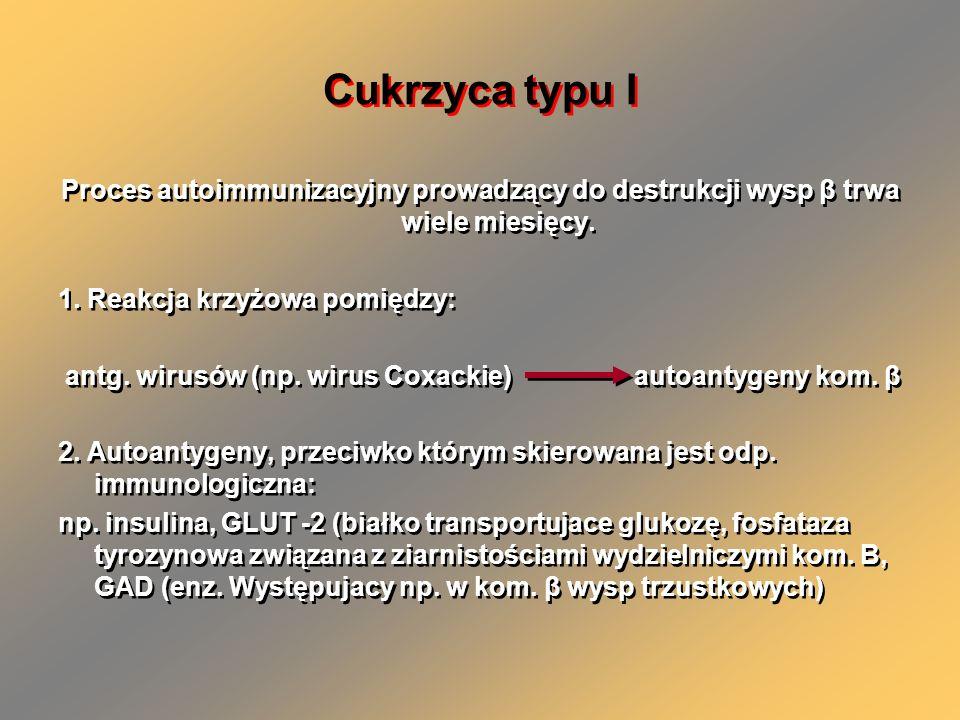 Cukrzyca typu I Proces autoimmunizacyjny prowadzący do destrukcji wysp β trwa wiele miesięcy. 1. Reakcja krzyżowa pomiędzy: