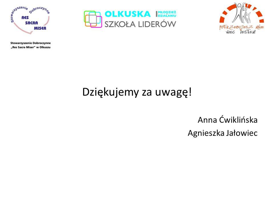 Dziękujemy za uwagę! Anna Ćwiklińska Agnieszka Jałowiec