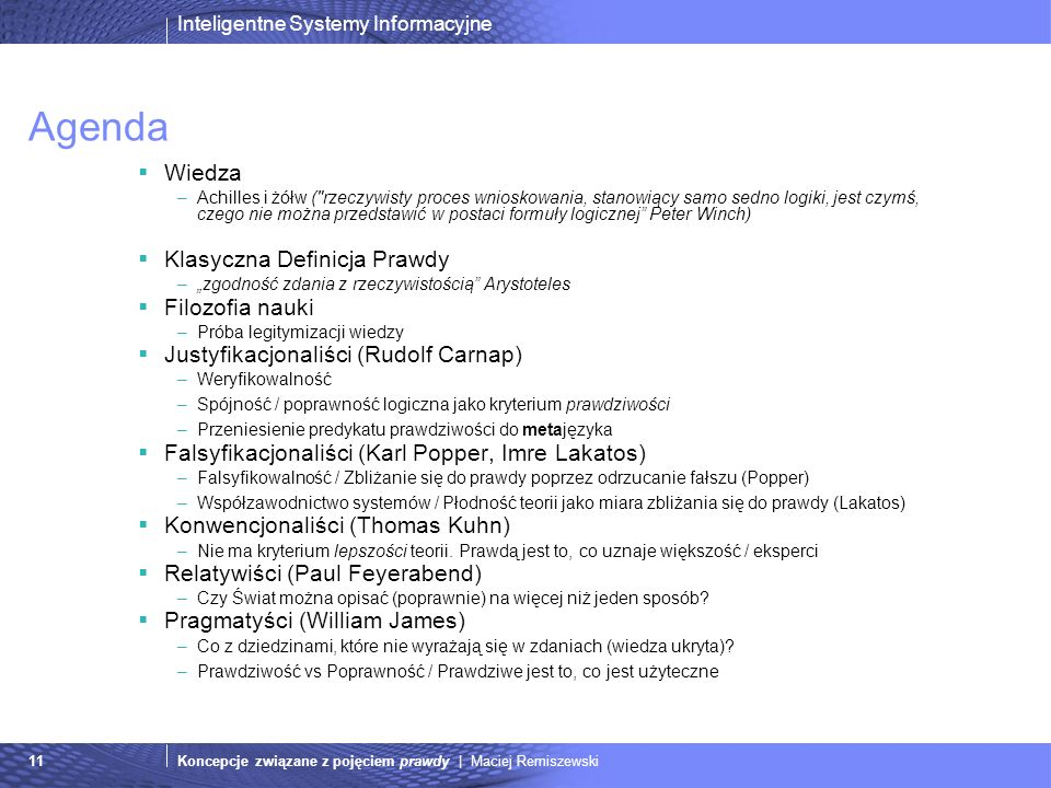 Agenda Wiedza Klasyczna Definicja Prawdy Filozofia nauki
