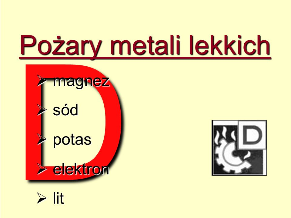 D Pożary metali lekkich magnez sód potas elektron lit 12