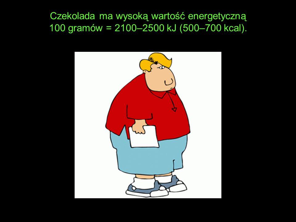 Czekolada ma wysoką wartość energetyczną 100 gramów = 2100–2500 kJ (500–700 kcal).