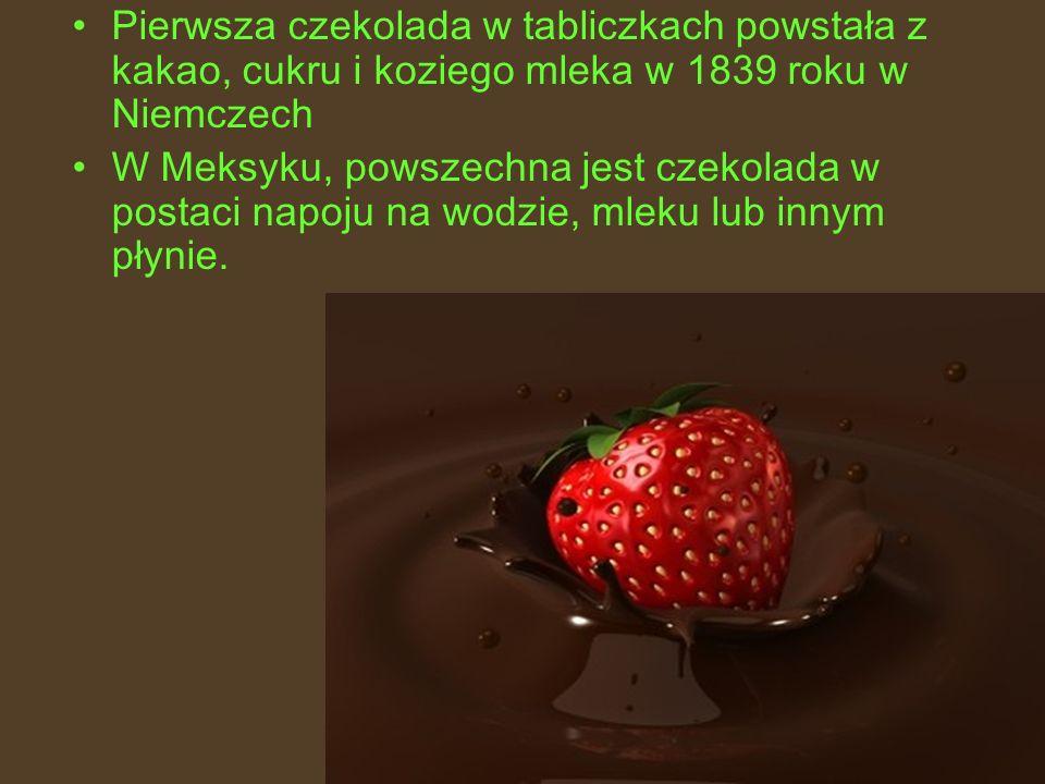 Pierwsza czekolada w tabliczkach powstała z kakao, cukru i koziego mleka w 1839 roku w Niemczech