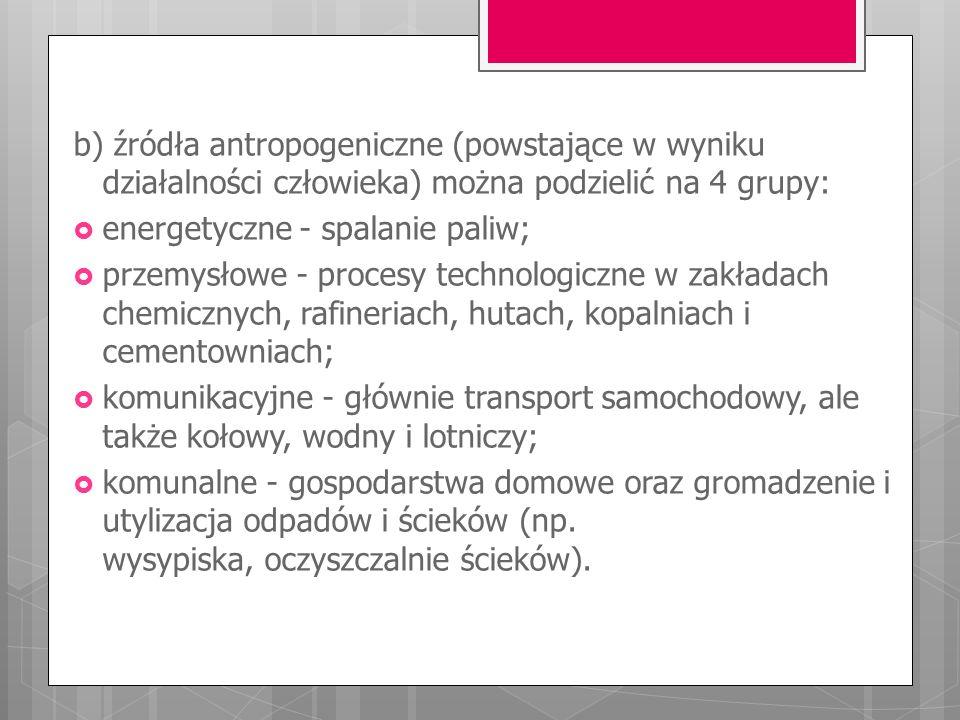 b) źródła antropogeniczne (powstające w wyniku działalności człowieka) można podzielić na 4 grupy: