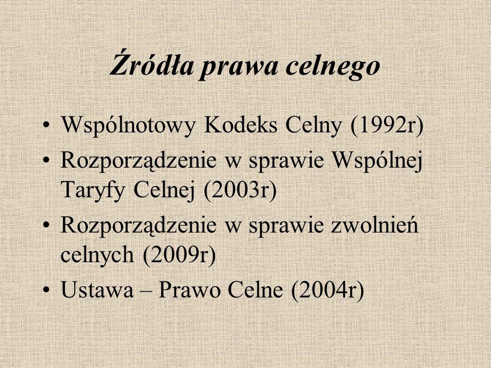 Źródła prawa celnego Wspólnotowy Kodeks Celny (1992r)