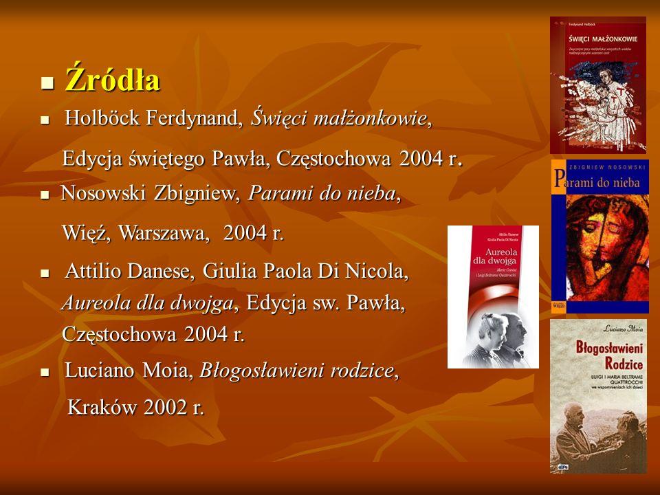 Źródła Holböck Ferdynand, Święci małżonkowie,