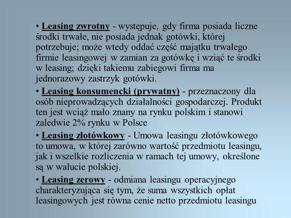 • Leasing zwrotny - występuje, gdy firma posiada liczne środki trwałe, nie posiada jednak gotówki, której potrzebuje; może wtedy oddać część majątku trwałego firmie leasingowej w zamian za gotówkę i wziąć te środki w leasing; dzięki takiemu zabiegowi firma ma jednorazowy zastrzyk gotówki.