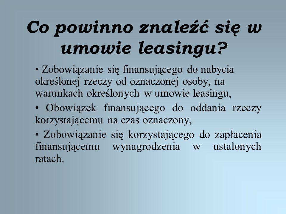 Co powinno znaleźć się w umowie leasingu