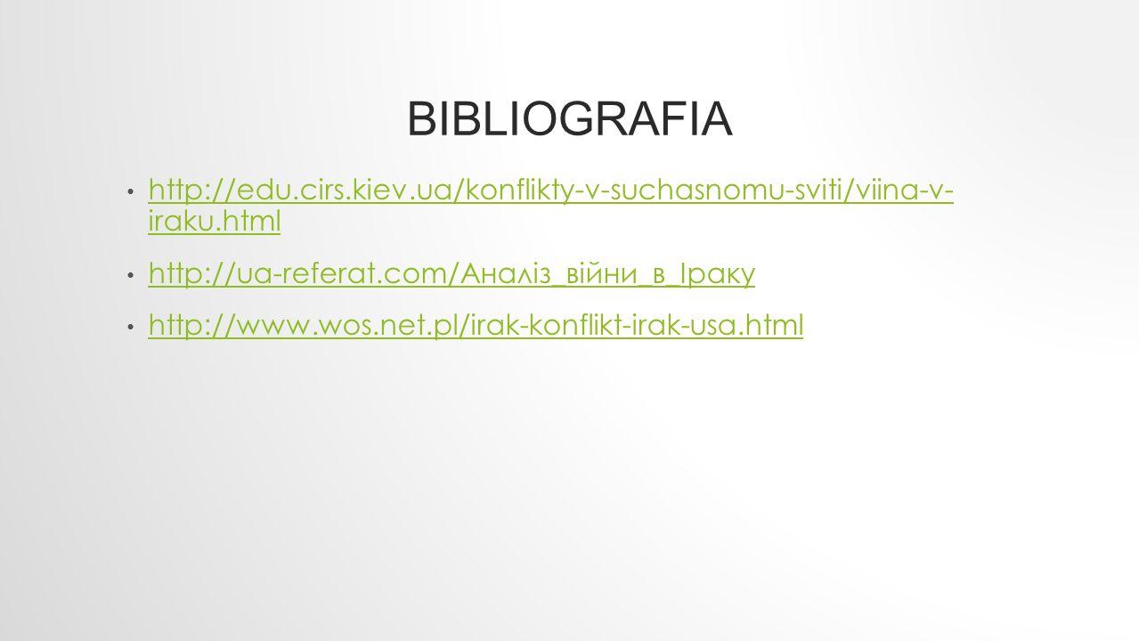 Bibliografia http://edu.cirs.kiev.ua/konflikty-v-suchasnomu-sviti/viina-v- iraku.html. http://ua-referat.com/Аналіз_війни_в_Іраку.
