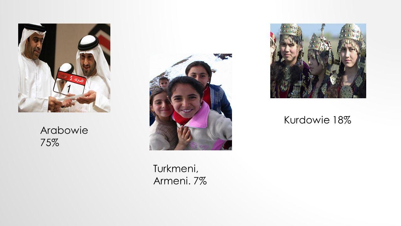 Kurdowie 18% Arabowie 75% Turkmeni, Armeni. 7%