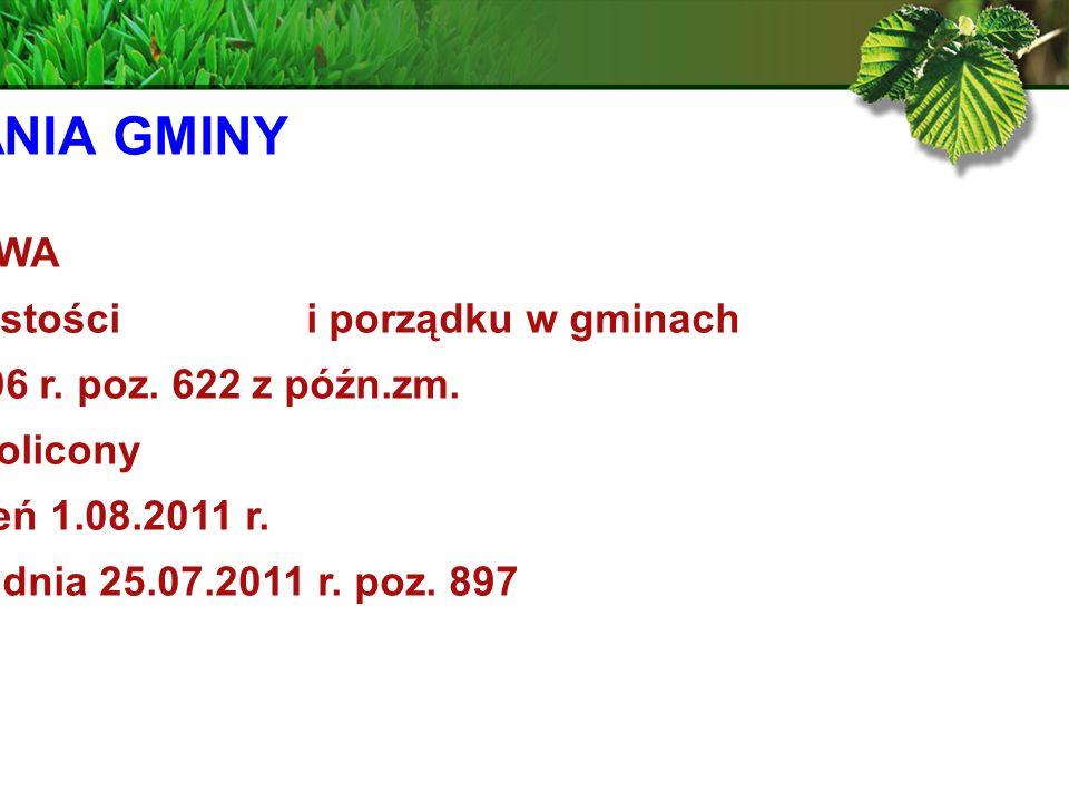 ZADANIA GMINY USTAWA. z dnia 13 września 1996 r. o utrzymaniu czystości i porządku w gminach.