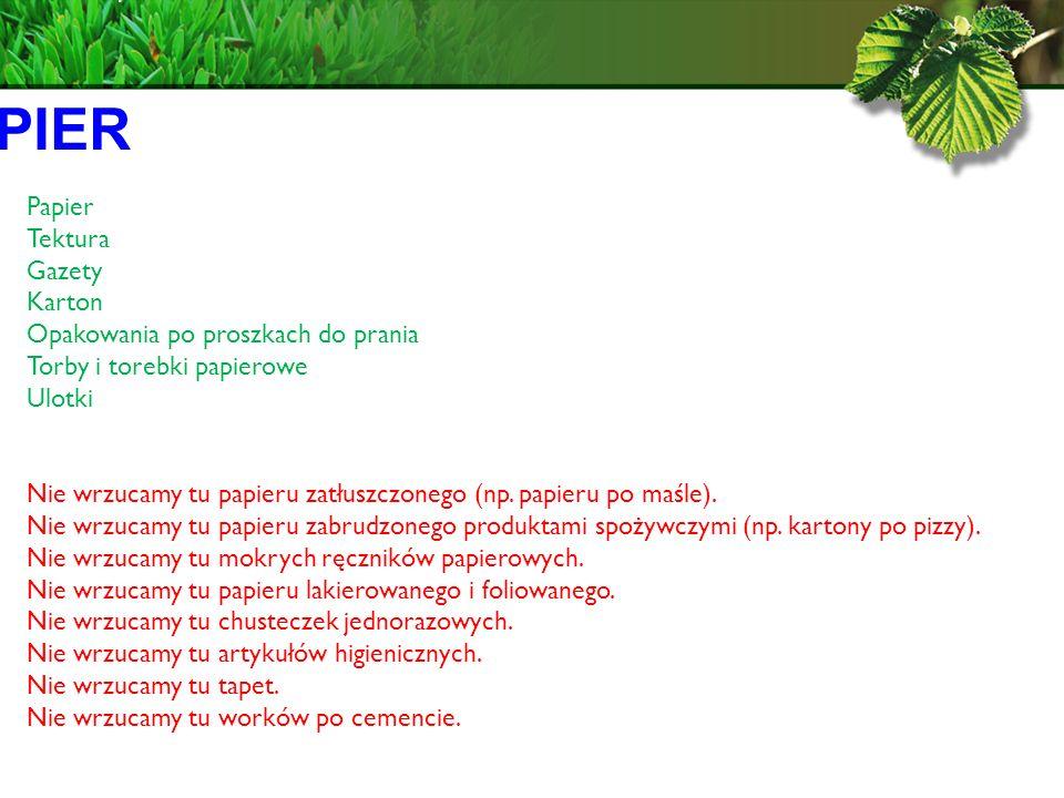 PAPIER Papier Tektura Gazety Karton Opakowania po proszkach do prania
