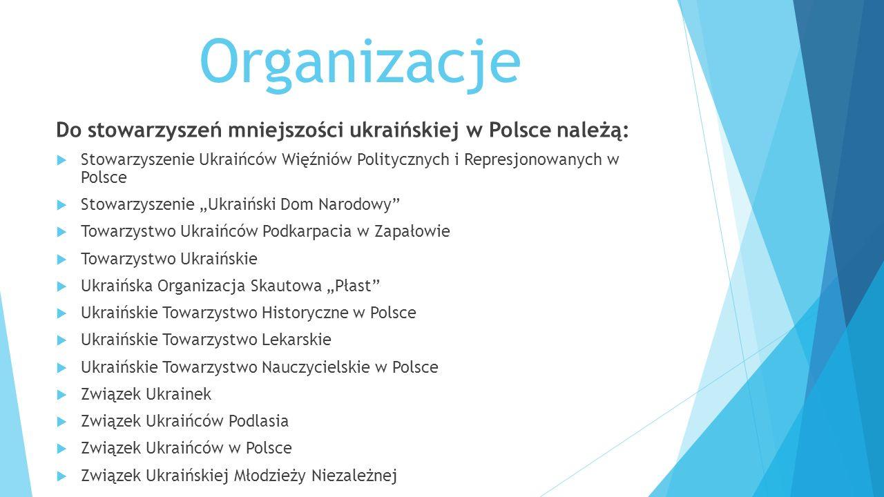 Organizacje Do stowarzyszeń mniejszości ukraińskiej w Polsce należą: