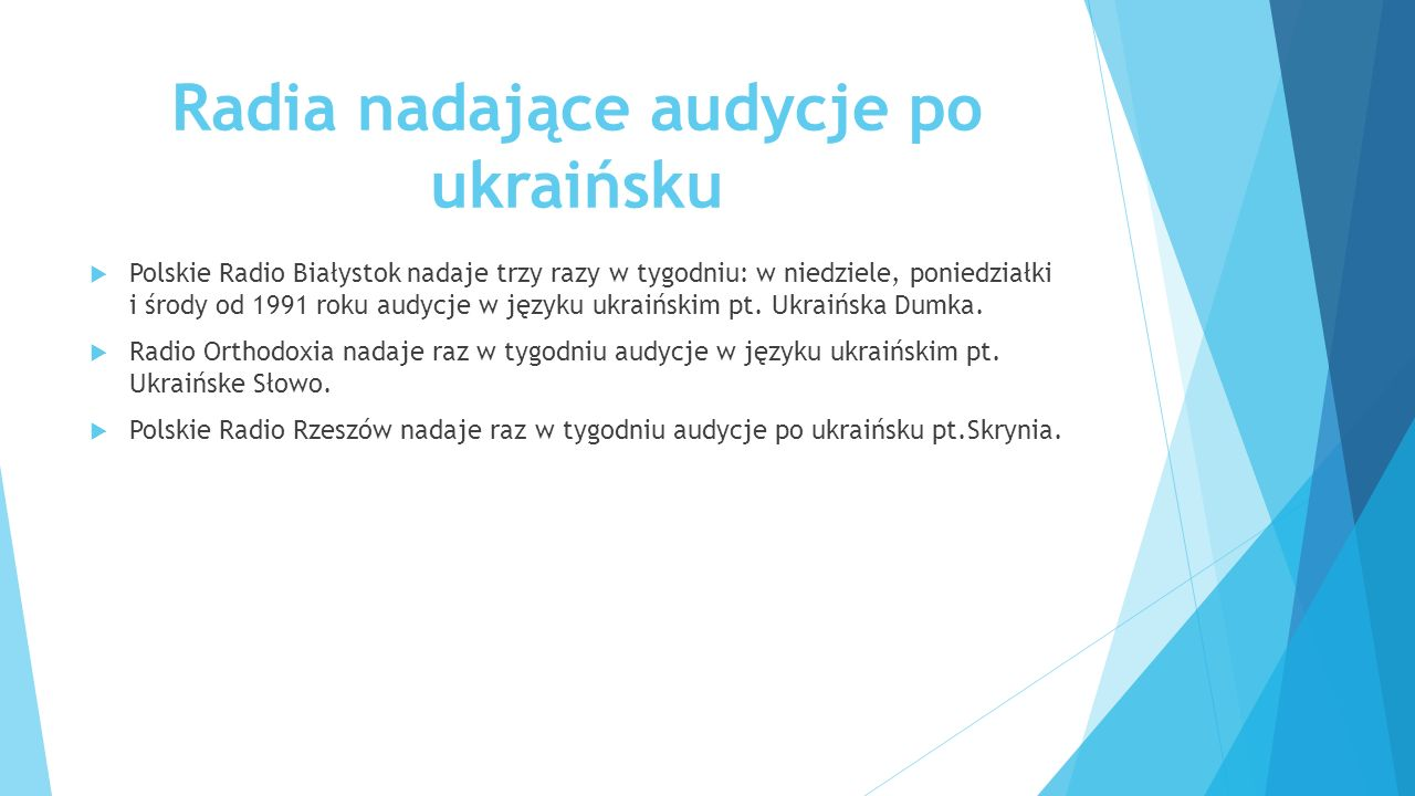 Radia nadające audycje po ukraińsku