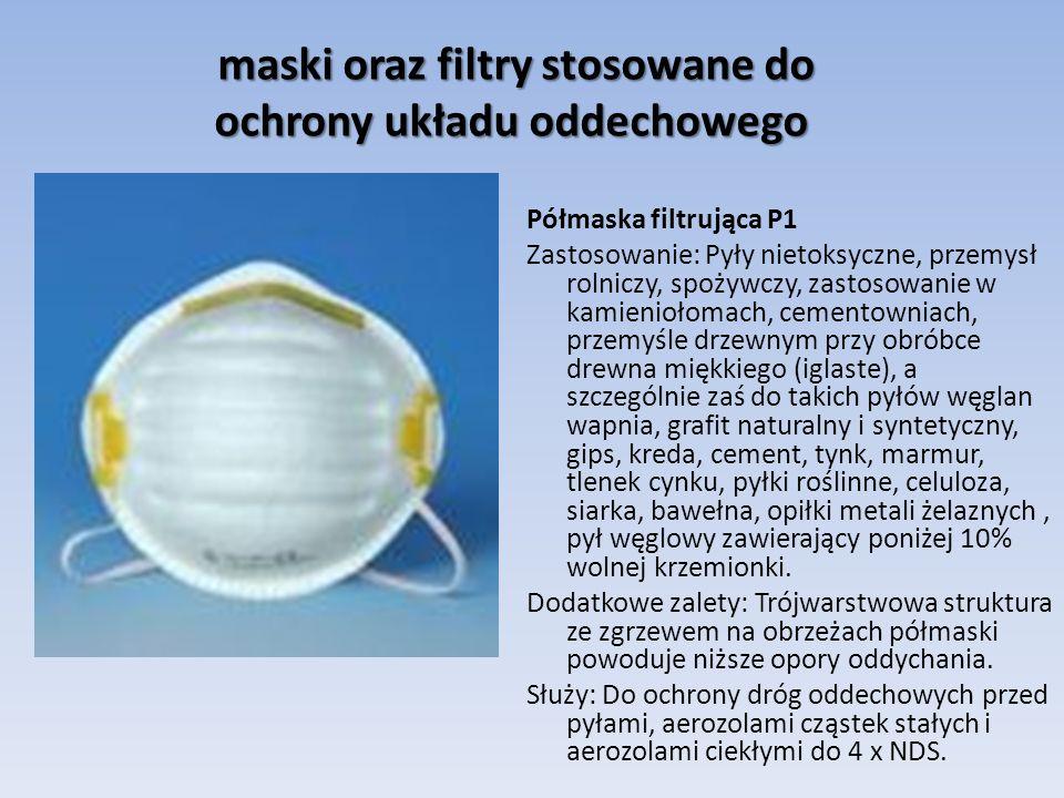 maski oraz filtry stosowane do ochrony układu oddechowego