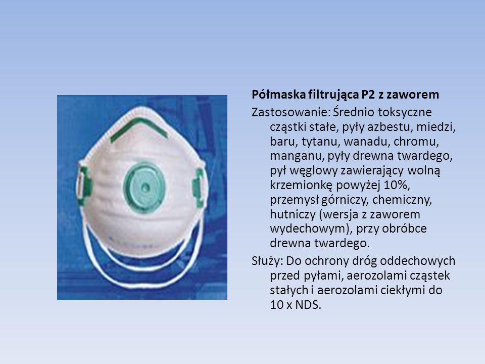 Półmaska filtrująca P2 z zaworem Zastosowanie: Średnio toksyczne cząstki stałe, pyły azbestu, miedzi, baru, tytanu, wanadu, chromu, manganu, pyły drewna twardego, pył węglowy zawierający wolną krzemionkę powyżej 10%, przemysł górniczy, chemiczny, hutniczy (wersja z zaworem wydechowym), przy obróbce drewna twardego.