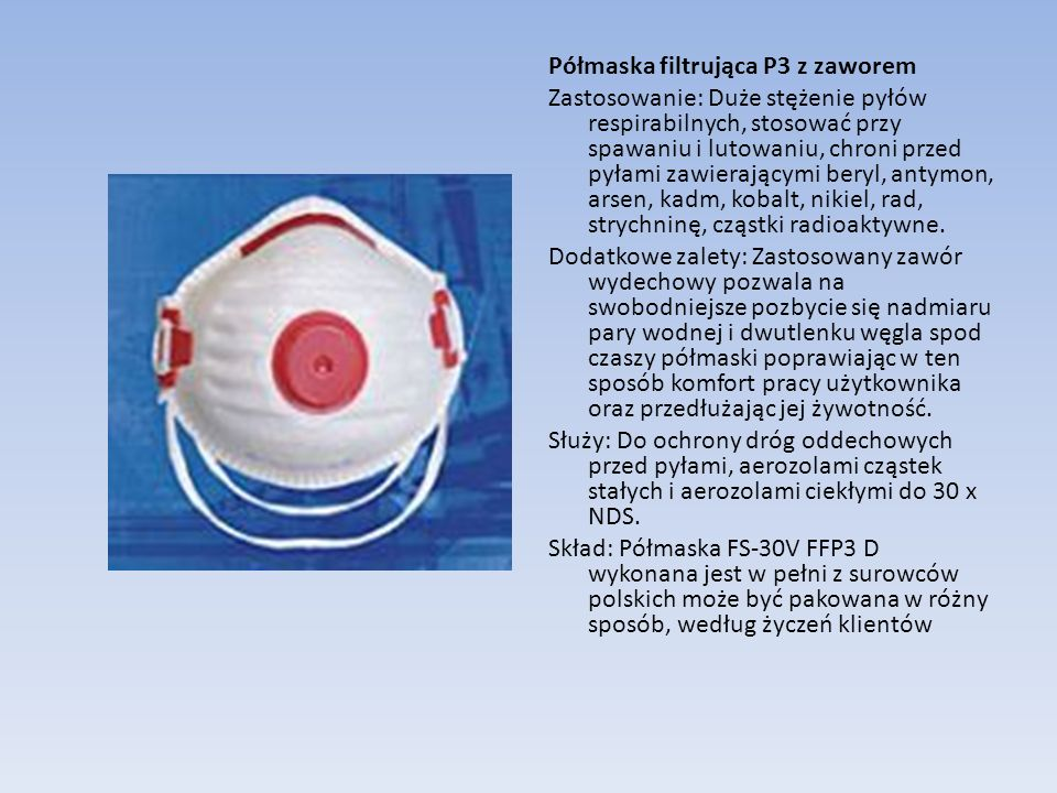 Półmaska filtrująca P3 z zaworem
