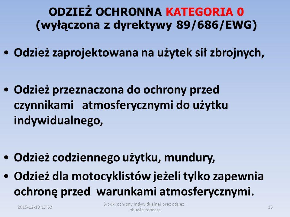 ODZIEŻ OCHRONNA KATEGORIA 0 (wyłączona z dyrektywy 89/686/EWG)