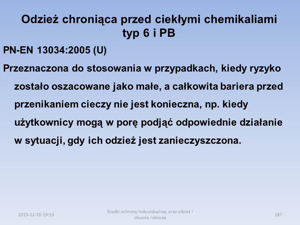 Odzież chroniąca przed ciekłymi chemikaliami typ 6 i PB
